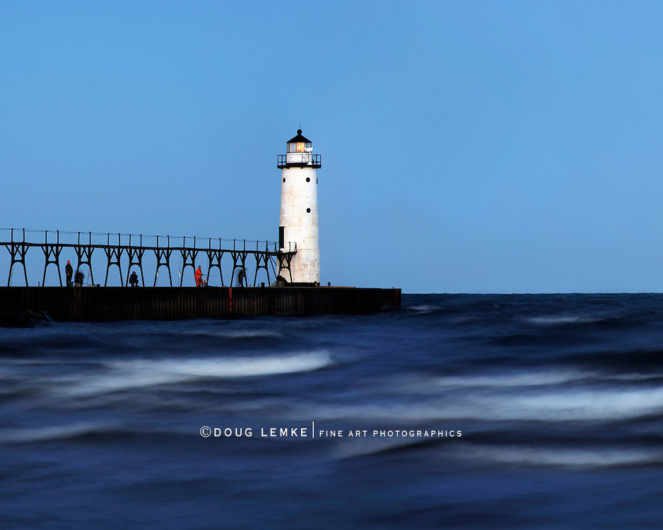 Brush Stroke Waves Coming Towards The Beach, Motion Blurred In An Early Morning Time Exposure At The Manistee North Pierhead Lighthouse, Lake Michigan, Lower Peninsula, USA