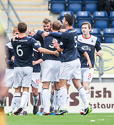 Falkirk's Rory Loy celebrates with team mates after scoring their first goal.<br /> Falkirk 3 v 1 Dundee, 21/9/2013.<br /> &copy;Michael Schofield.