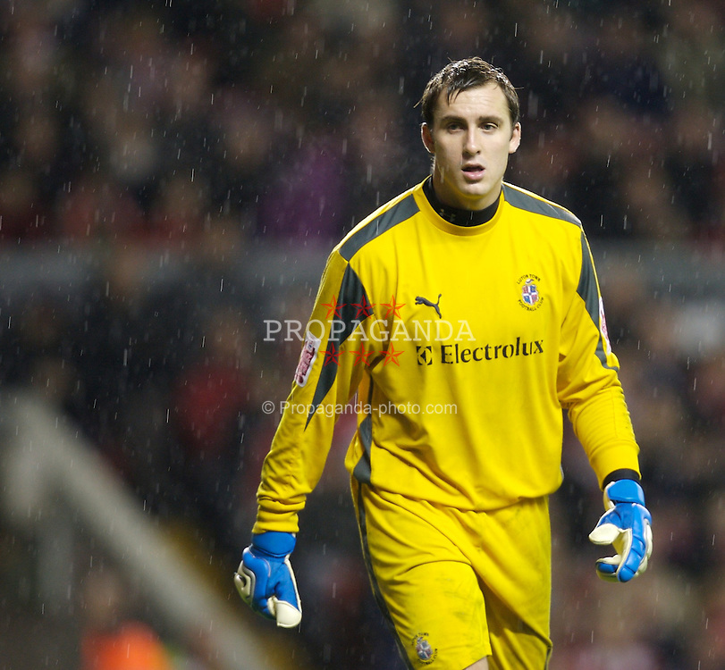 LIVERPOOL, ENGLAND - Tuesday, January 15, 2008: Luton Town's goalkeeper Dean Brill in action against Liverpool during the FA Cup 3rd Round Replay at Anfield. (Photo by David Rawcliffe/Propaganda)