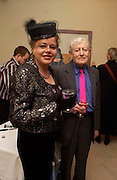 Belinda Crichton and Leonard Rosoman, David Hockney exhibition opening, Annely Juda Gallery. 15 January 2003. © Copyright Photograph by Dafydd Jones 66 Stockwell Park Rd. London SW9 0DA Tel 020 7733 0108 www.dafjones.com