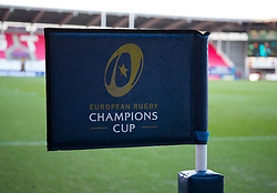 A general view of Parc Y Scarlets, home of Scarlets banner, flag<br /> <br /> Photographer Simon King/Replay Images<br /> <br /> European Rugby Champions Cup Round 6 - Scarlets v Toulon - Saturday 20th January 2018 - Parc Y Scarlets - Llanelli<br /> <br /> World Copyright © Replay Images . All rights reserved. info@replayimages.co.uk - http://replayimages.co.uk