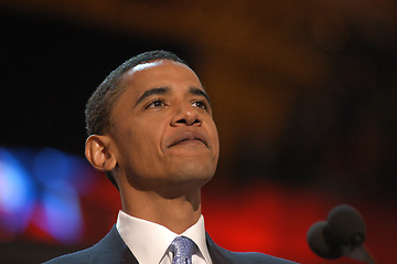 Barack Obama's delivering the keynote address at the 2004 Democratic National Convention. Then a relatively unknown Illinois State Senator who was running for an Illinois US Senate seat the speech propelled him to the forefront of the Democratic party. He delivered the speech July 27, 2004 at the Fleet Center in Boston, Massachusetts.