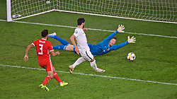 CARDIFF, WALES - Friday, September 6, 2019: Azerbaijan's Mahir Emreli scores his sides equalising goal past the dive by Wales' goalkeeper Wayne Hennessey to make the score 1-1 during the UEFA Euro 2020 Qualifying Group E match between Wales and Azerbaijan at the Cardiff City Stadium. (Pic by Paul Greenwood/Propaganda)