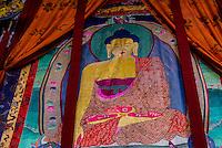 Prayer hall, Sera Monastery, near Lhasa, TIbet (Xizang), China.