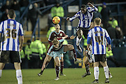 Lucas Joao (Sheffield Wednesday) wins the header during the Sky Bet Championship match between Sheffield Wednesday and Burnley at Hillsborough, Sheffield, England on 2 February 2016. Photo by Mark Doherty.