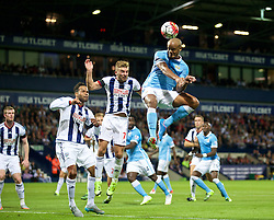 WEST BROMWICH, ENGLAND - Monday, August 10, 2015: Manchester City's captain Vincent Kompany scores the third goal against West Bromwich Albion during the Premier League match at the Hawthorns. (Pic by David Rawcliffe/Propaganda)