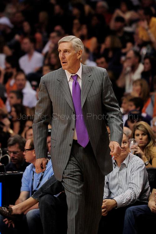 Mar. 19 2010; Phoenix, AZ, USA; Utah Jazz head coach Jerry Sloan reacts in the first half at the US Airways Center. Mandatory Credit: Jennifer Stewart-US PRESSWIRE.