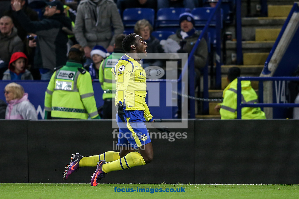 Romelu Lukaku of Everton (right) celebrates scoring during the Premier League match at the King Power Stadium, Leicester<br /> Picture by Andy Kearns/Focus Images Ltd 0781 864 4264<br /> 26/12/2016