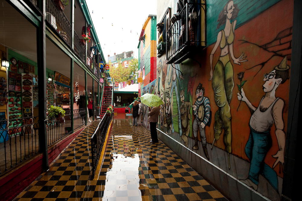 Colorful buildings in La Boca, a tourist section of Buenos Aires, Argentina on a rainy day