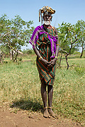 Woman of the Mursi tribe with clay lip disc as body ornamentstribe Debub Omo Zone, Ethiopia. Close to the Sudanese border.
