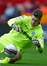 SHEFFIELD, ENGLAND - Saturday, March 17, 2012: Tranmere Rovers' goalkeeper Owain Fon Williams in action against Sheffield United during the Football League One match at Bramall Lane. (Pic by David Rawcliffe/Propaganda)