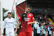 Gwion Edwards rues another missed chance during the Sky Bet League 2 match between Crawley Town and Wycombe Wanderers at the Checkatrade.com Stadium, Crawley, England on 29 August 2015. Photo by Michael Hulf.