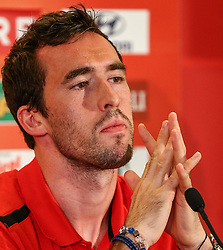06.06.2013, Ernst Happel Stadion, Wien, AUT, FIFA WM Qualifikation, Oesterreich vs Schwede, Pressekonferenz Oesterreich, im Bild Christian Fuchs, (AUT, #5)  // during an Austrian Press Conference for the FIFA World Cup Qualifier Match between Austria (AUT) and Sweden (SWE) at the Ernst Happel Stadion, Vienna, Austria on 2013/06/06. EXPA Pictures © 2013, PhotoCredit: EXPA/ Thomas Haumer