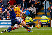 Jake Hastie of Motherwell has a strike at goal during the Ladbrokes Scottish Premiership match between Motherwell and Heart of Midlothian at Fir Park, Motherwell, Scotland on 17 February 2019.