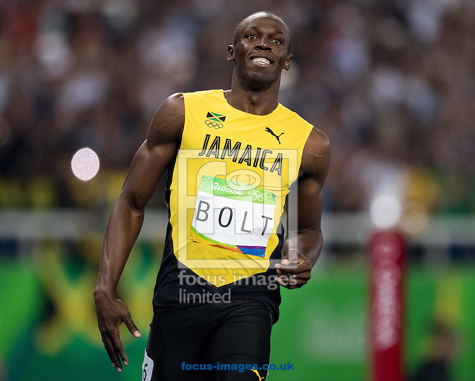 Usain Bolt of Jamaica during the Men's 100m Semi-final on day nine of the XXXI 2016 Olympic Summer Games in Rio de Janeiro, Brazil.<br /> Picture by EXPA Pictures/Focus Images Ltd 07814482222<br /> 14/08/2016<br /> *** UK &amp; IRELAND ONLY ***<br /> <br /> EXPA-GRO-160815-5435.jpg