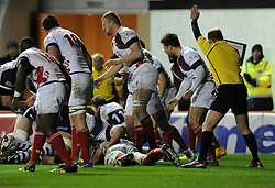 Bristol Rugby's replacement prop, Gaston Cortes scores a try - Photo mandatory by-line: Dougie Allward/JMP - Mobile: 07966 386802 - 05/12/2014 - SPORT - Rugby - Bristol - Ashton Gate - Bristol Rugby v London Scottish - B&I Cup