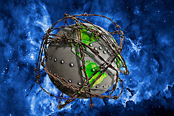 Metal riveted earth surrounded by barbed wire in violent space. barbed wire, wire composed of two zinc-coated steel strands twisted together and having barbs spaced regularly along them. The need for barbed wire arose in the 19th cent. as the American frontier moved westward into the Great Plains and traditional fence materials--wooden rails and stone--became scarce and expensive. Of the many early types of barbed wire, that invented in Illinois in 1873 by Joseph F. Glidden proved most popular. The advent of barbed-wire fences on the plains transformed the cattle industry, ending the open range to a large extent and making possible the introduction of blooded cattle. The transformation was not without protests, which often led to bloodshed. In the 20th cent. barbed wire gained importance as an instrument of defense through its use in wartime for entanglements and obstacles. Barbed-wire fences have been replaced in some applications by other types, e.g., woven-wire fences.