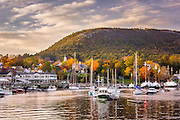 Mount Battie Looms over the picturesque Camden Harbor with some beautiful fall foliage on display.