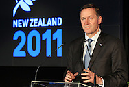 Prime Minister John Key speaks during the One Year To Go Media Session. Countdown to the 2011 Rugby World Cup, Eden Park, Auckland, Thursday 9 September 2010. Photo: Andrew Cornaga/PHOTOSPORT