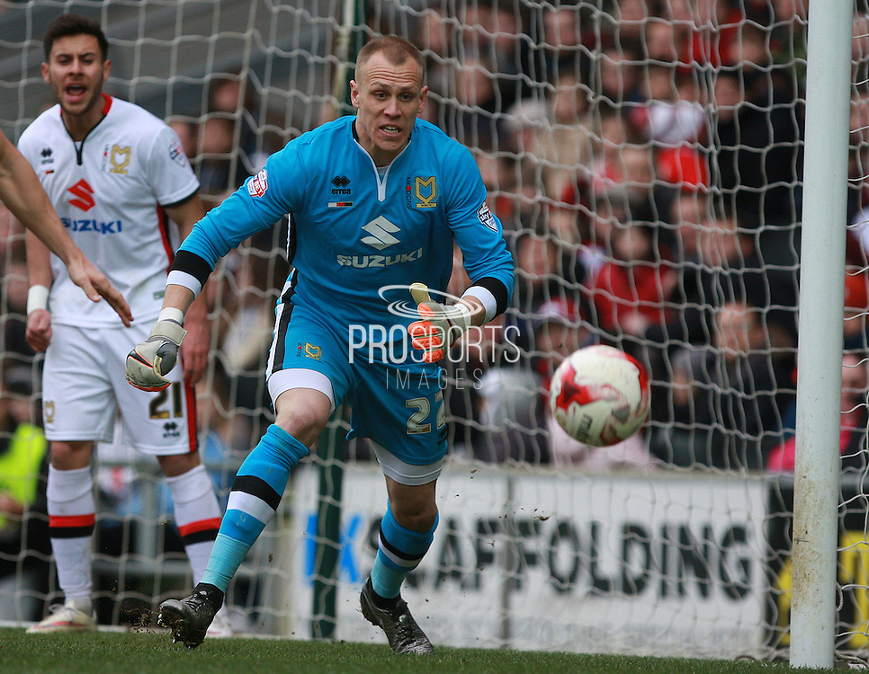 Milton Keynes Dons goalkeeper Cody Cropper during the Sky Bet Championship match between Milton Keynes Dons and Brighton and Hove Albion at stadium:mk, Milton Keynes, England on 19 March 2016. Photo by Bennett Dean.