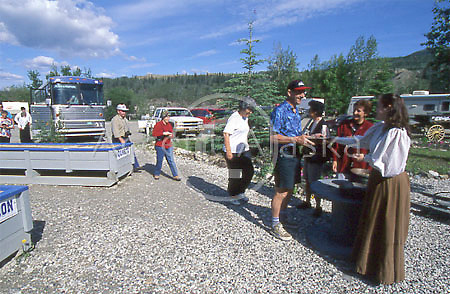 Canada. Yukon Territory .  Guggieville in Dawson City where tourist learn how to pan for gold.