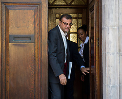 © Licensed to London News Pictures. 09/10/2015. London, UK. Anni Dewani's uncle Vinod Ashock Hindocha leaving North London Coroner's Court in Barnet, north London where a Coroner ruled there will be no inquest into murdered honeymoon bride Anni Dewani. Photo credit: Ben Cawthra/LNP