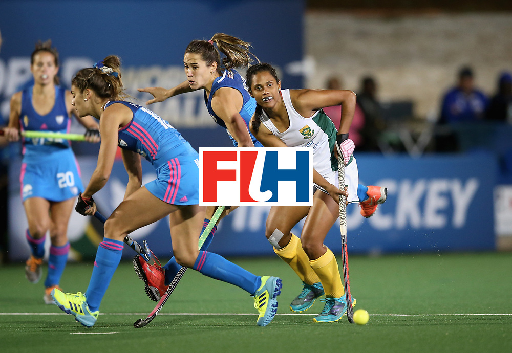 JOHANNESBURG, SOUTH AFRICA - JULY 12: Illse Davids of South Africa and Magdalena Fernandez of Argentina battle for possession during day 3 of the FIH Hockey World League Semi Finals Pool B match between South Africa and Argentina at Wits University on July 12, 2017 in Johannesburg, South Africa. (Photo by Jan Kruger/Getty Images for FIH)