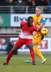 Leyton Orient's Marvin Bartley holds off Preston North End's Tom Clarke - Photo mandatory by-line: Robin White/JMP - Tel: Mobile: 07966 386802 16/11/2013 - SPORT - FOOTBALL - Brisbane Stadium - Leyton - Leyton Orient v Preston North End - Sky Bet League One