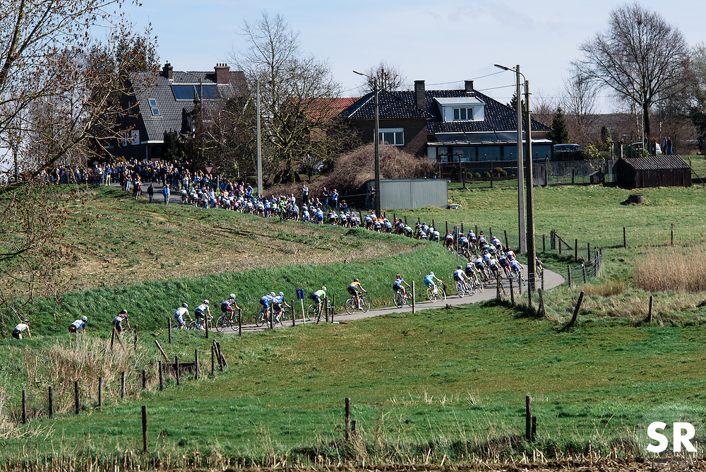 Peloton climb through the Flandrian countryside  - Women's Ronde van Vlaanderen 2016. A 141km road race starting and finishing in Oudenaarde, Belgium on April 3rd 2016.
