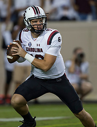 South Carolina quarterback Jake Bentley (19) looks to pass down field against Texas A&M during the first quarter of an NCAA college football game Saturday, Sept. 30, 2017, in College Station, Texas. (AP Photo/Sam Craft)