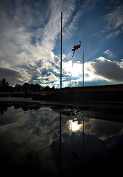 An athlete competes during the Men's Pole Vault competition during the Samsung Diamond League meeting at Crystal Palace in London August 13, 2010.