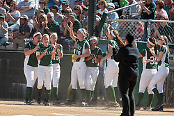 09 May 2014:  Titans celebrate a run scored by Sara Rogers during an NCAA Division III women's softball championship series game between the Lake Forest Foresters and the Illinois Wesleyan Titans in Bloomington IL