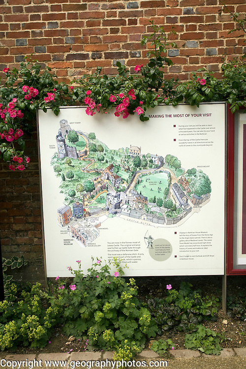 Plan diagram map of Lewes castle, East Sussex, England