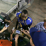 Delaware Cornerback Tim Breaker #3 interviews with the press after a week 1 win over West Chester...Delaware will return home Sept. 8, 2012 at 3:30pm for a showdown with interstate Rival Delaware State in the Route 1 Rivalry Bowl at Delaware Stadium.