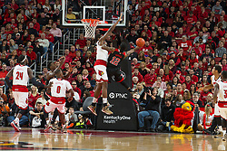 North Carolina State guard Anthony Barber, right. <br /> <br /> The University of Louisville hosted the North Carolina State, Saturday, Feb. 14, 2015 at the Yum Center in Louisville. <br /> <br /> Photo by Jonathan Palmer