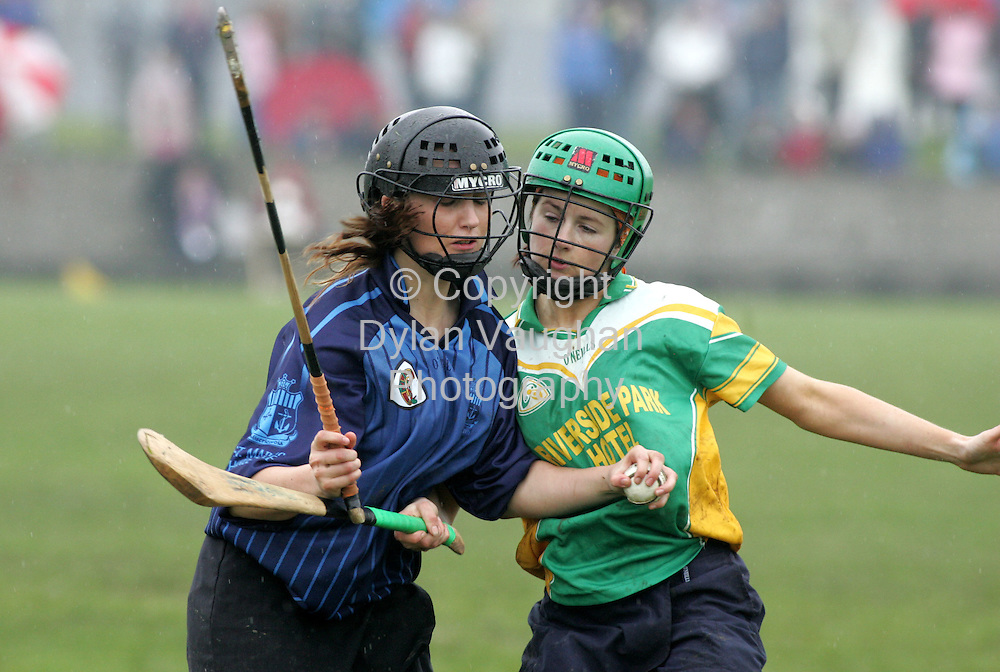 23/4/2005.Pictured in action at the Cluichi Ceannais na n-Iarbhunscoileanna sa Chamogaiocht in Carrick on Suir on Saturday between Colaiste Bride Enniscorthy and St Marys Secondary School Charleville was Colaiste Bride's Siobhan Cullen (right) and St Marys Shannon Brosnan..Picture Dylan Vaughan