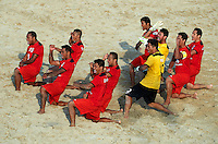 DUBAI, UNITED ARAB EMIRATES - NOVEMBER 01:  Tahiti perform the Haka before the day one of the Beach Soccer Intercontinental Cup 2016 match between Tahiti and Poland at Dubai International Marine Club on November 1, 2016 in Dubai, United Arab Emirates.  (Photo by Manuel Queimadelos Alonso/Getty Images)