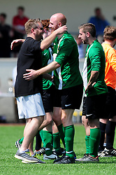 Matthew Trudgeon of SWYD United celebrates with SWYD manager - Mandatory by-line: Dougie Allward/JMP - 08/05/2016 - FOOTBALL - Keynsham FC - Bristol, England - BAWA Sports v SWYD United - Presidents cup final