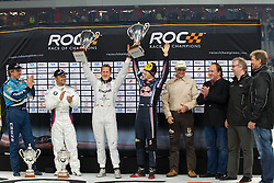 27.11.2010, Esprit Arena, Düsseldorf, GER, Race of Champions, im Bild von links Jason Plato (GBR, 2-Time British Touring Car Champion), Andy Priaulx (GBR, 3-Time World Touring Car Champion), Michael Schumacher (GER, F1 Mercedes GP) und Sebastian Vettel (GER, F1 Red Bull Racing), EXPA Pictures © 2010, PhotoCredit: EXPA/ A. Neis