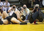January 29, 2010: Iowa's Brent Metcalf pins Penn State's Frank Molinaro in the 149-pound bout at Carver-Hawkeye Arena in Iowa City, Iowa on January 29, 2010. Metcalf pinned Molinaro in 3:56 and Iowa defeated Penn State 29-6.