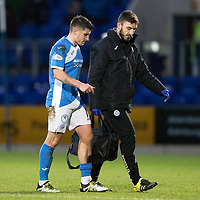 St Johnstone v MotherwellÖ17.12.16     McDiarmid Park    SPFL<br /> Michael Coulson limps off with physio Tony Tompos<br /> Picture by Graeme Hart.<br /> Copyright Perthshire Picture Agency<br /> Tel: 01738 623350  Mobile: 07990 594431
