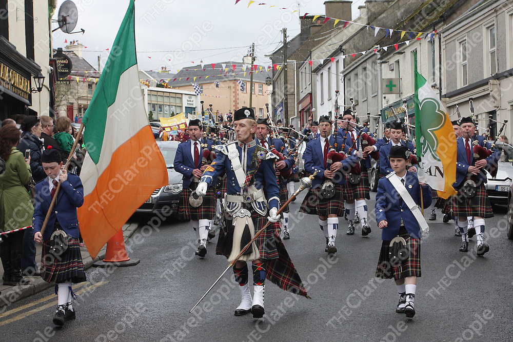 The Tulla Pipe Band lead out the Parade. - Photograph by Flann Howard