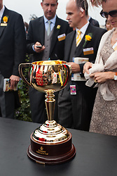 The Melbourne cup made from 1.65 kg of 18-carat gold awarded to the winner of the 2 mile race held annually at Flemington Race Course in Melbourne Australia
