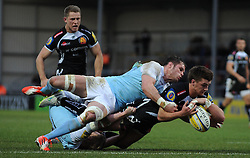 Exeter Chiefs Henry Slade goes over for a try  - Photo mandatory by-line: Harry Trump/JMP - Mobile: 07966 386802 - 14/02/15 - SPORT - Rugby - Aviva Premiership - Sandy Park, Exeter, England - Exeter Chiefs v Newcastle Falcons