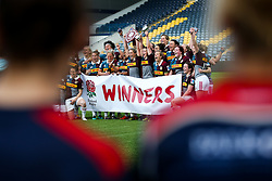 As Aylesford Bulls lift the winners trophy Bristol Ladies can only look on after losing in the Play Off Final having finished the regular season top of the league - Rogan Thomson/JMP - 23/04/2017 - RUGBY UNION - Sixways Stadium - Worcester, England - Bristol Ladies Rugby v Aylesford Bulls - Women's Premiership Final.
