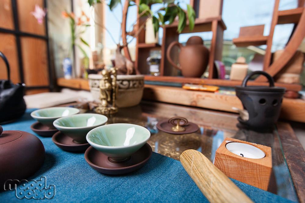 Teacups in tea store