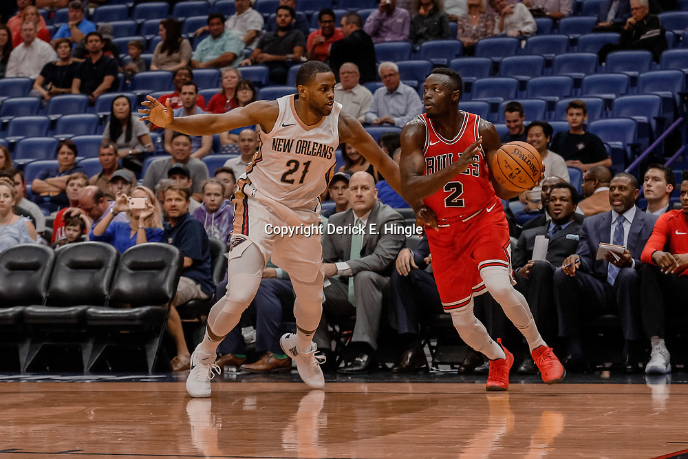Oct 3, 2017; New Orleans, LA, USA; Chicago Bulls guard Jerian Grant (2) drives past New Orleans Pelicans forward Darius Miller (21) during the first half of a NBA preseason game at the Smoothie King Center. Mandatory Credit: Derick E. Hingle-USA TODAY Sports
