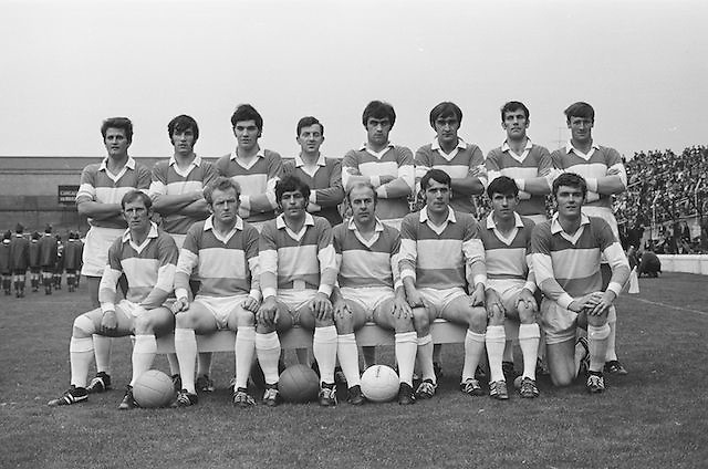 22.08.1971 Football All Ireland Semi Final Cork Vs Offaly..Offaly.1-16.Cork.1-11..Offaly Senior Team. ..M. Furlong, M. Ryan, P. McCormack, M. O'Rourke, E. Mulligan, N. Clavin, M. Heavey, W. Bryan (Captain), K. Claffey, J. Cooney, K. Kilmurray, A. McTague, J. Gunning, S. Evans, Murt Connor..Subs: J. Smith for N. Clavin; P. Fenning for J. Gunning.W. Bryan (Captain).