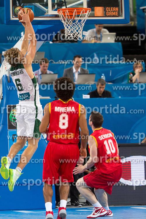 Mindaugas Kuzminskas #6 of Lithuania dunks during basketball match between national team of Lithuania and Belgium of Eurobasket 2013 on September 13, 2013 in SRC Stozice, Ljubljana, Slovenia. (Photo By Matic Klansek Velej / Sportida.com)