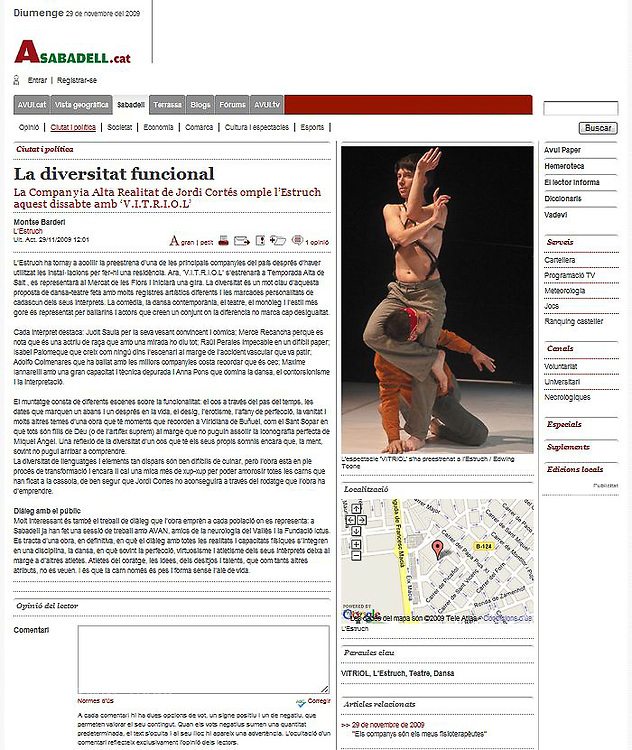 Publication of dance photo from V.I.T.R.I.O.L. in the web page of a newspaper AVUI from 29/11/09. www.avui.cat